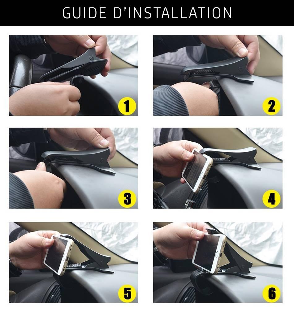 Guide d'installation et de montage du support GPS sur le tableau de bord d'un véhicule côté conducteur.