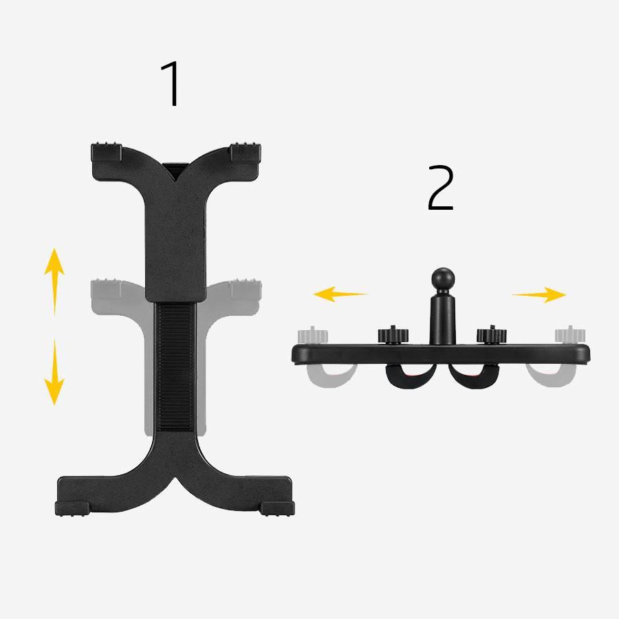 Les 2 parties du support iPad pour voiture de façon schématisée et explicative.