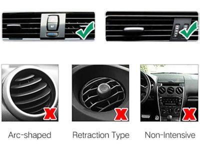 Photos des buses d'aération et des grilles de ventilation des supports téléphone compatibles avec les voitures.