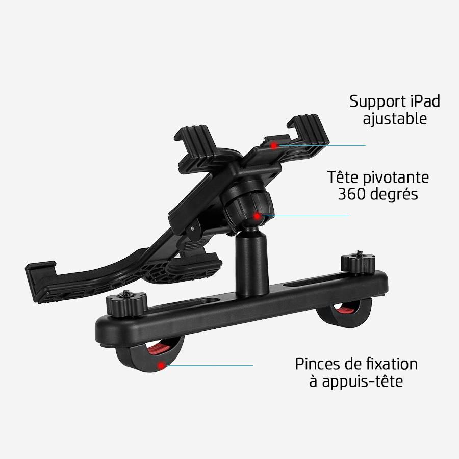 Fiche technique avec schéma du support iPad pour auto en face arrière.