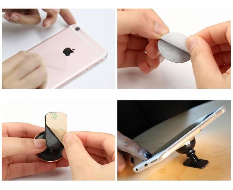 Schémas d'installation du support téléphone portable multi-surfaces.