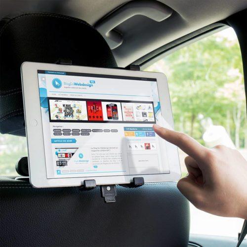 Support iPad en mode paysage. Pour appui-tête de siège de voiture.
