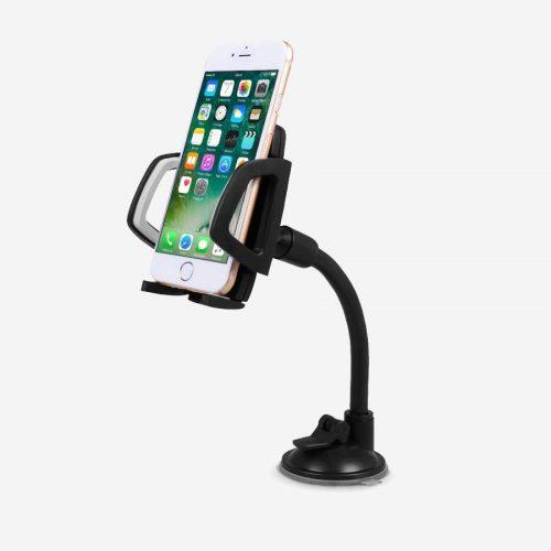 Support smartphone noir avec ventouse pour voiture.