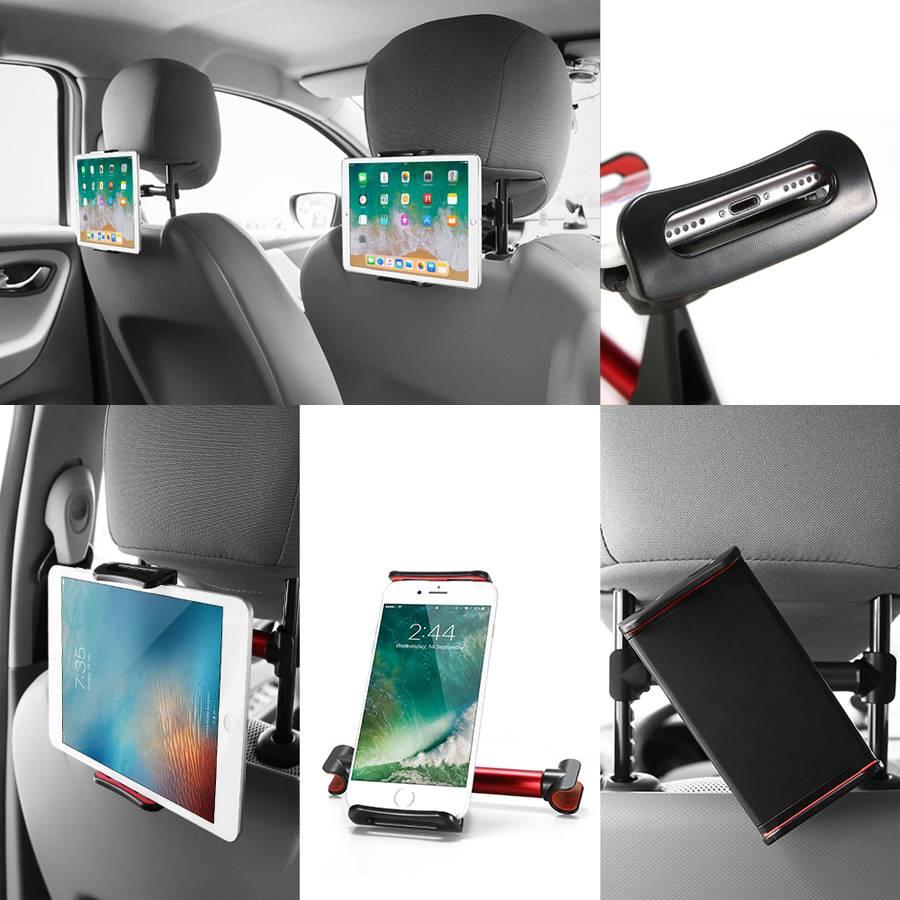 Plusieurs prises de vue d'utilisation des supports tablette dans un habitacle voiture.