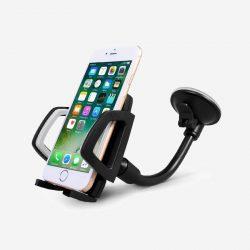 Support téléphone noir avec ventouse pour voiture.