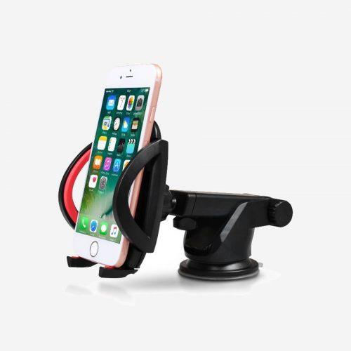 Support téléphone pour voiture avec bras télescopique et ventouse.