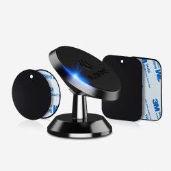 Support téléphone multi-surface pour voiture avec 2 plaques magnétiques fournies.