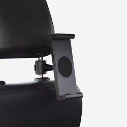 Support tablette de couleur noir pour appui-tête de voiture.