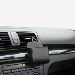 Rangement support téléphone portable en cuir pour grille de ventilation de voiture.